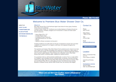 Blue Water - Before website screenshot